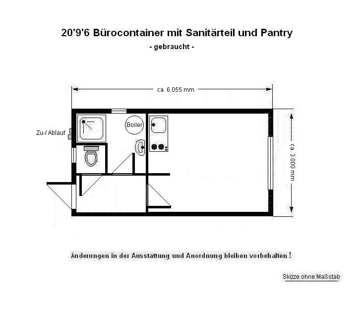 20 39 b rocontainer 3m breit mit dusche wc u pantry. Black Bedroom Furniture Sets. Home Design Ideas